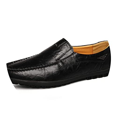 Cow Split Leather Men Flat Shoes Men Loafers Tenis Adulto Driving Shoes,Black,5.5