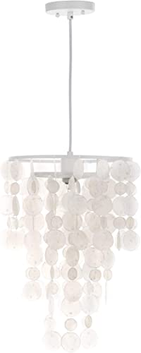 Safavieh Collection Pearl Capiz 1 Light 13 Pendant, White