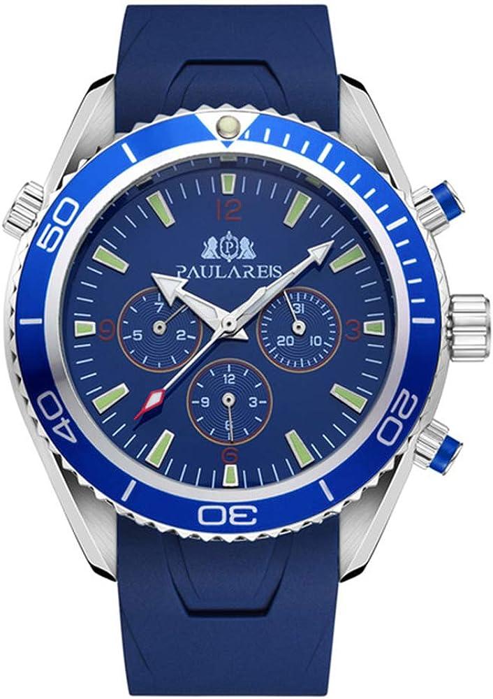 Automático para Hombre automático automático Pulsera de Acero Inoxidable Reloj para Hombre Estilo Naranja Azul Esfera Negra Bisel Reloj clásico