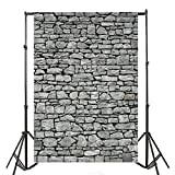 Yeele 5x7ft Gray Brick Wall Backdrop Vintage Grunge Photography Background Nostalgia Irregular Stone Texture Ancient Grey Uneven Cracked Rock Boy Kid Adult Artistic Portrait Photo Shoot Studio Props
