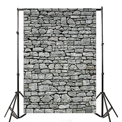 Yeele 5x7ft Gray Brick Wall Backdrop Vintage Grunge Photography Background Nostalgia Irregular Stone Texture Ancient Grey Uneven Cracked Rock Boy Kid Adult Artistic Portrait Photo Shoot Studio -