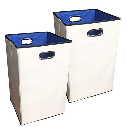 Under Cabinet Laundry Hamper Closet Folding Clothes Sorter Basket Bin Built In  Grommet Handles Beige