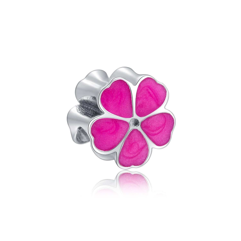 ZENI Women 925 Sterling Silver Pendant Necklace 18 Pink Lovely Flower