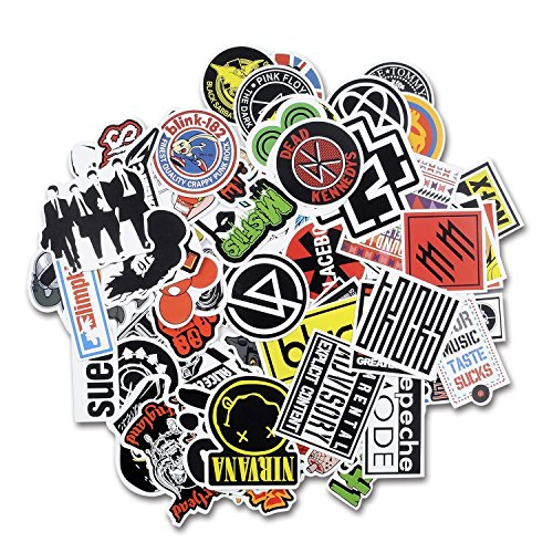 Laptop Stickers [100 pcs], Breezypals Car Stickers Luggage Decal Graffiti Guitar Skateboard Vinyl Stickers for Laptop, Rock and Roll Music Band Stickers- No-Duplicate Sticker Pack - Green Day Stickers