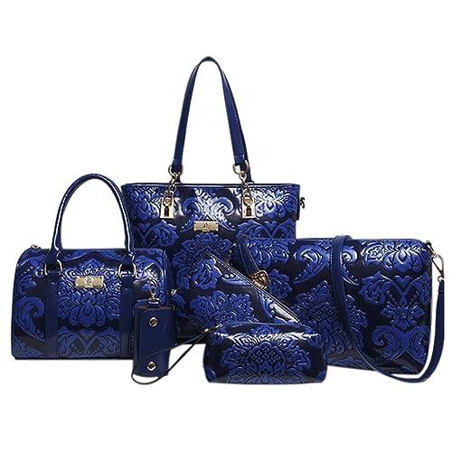 Amazon.com  QZUnique Women 6PCS Empaistic Chinese Style PU Leather  Crossbody Shoulder Bag Handbag Tote Purse Set  Shoes c0aaad47b9ac6