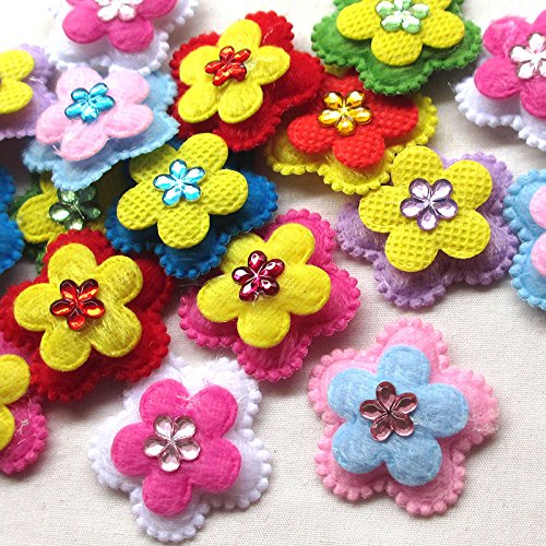 60pcs Felt Padded Flowers Appliques Craft Wedding Deco Mix Lots (Felt Flowers)