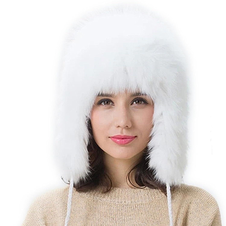 FURTALK Damen Winter Elegant Weich Warm Arktis Weiß Fuchspelz mit Ohrenklappen Pelzmütze Wuntermütze Damenmütze