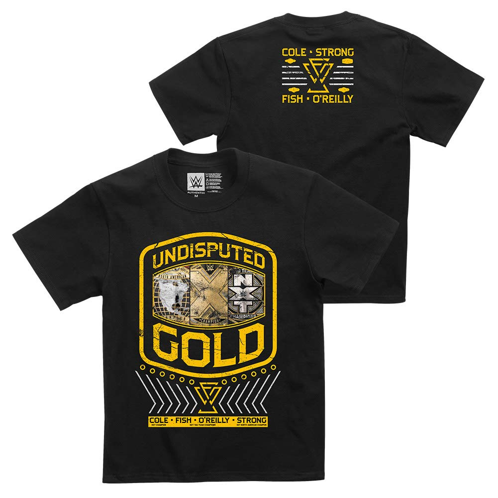 """Official WWE Authentic Undisputed Era /""""Undisputed Gold/"""" Youth  T-Shirt Black"""