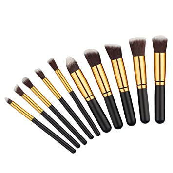 2b7cace08cf6 Amazon.com: JUNVOOL 10 Pcs Makeup Brush Color Hair Pincel Maquiagem ...