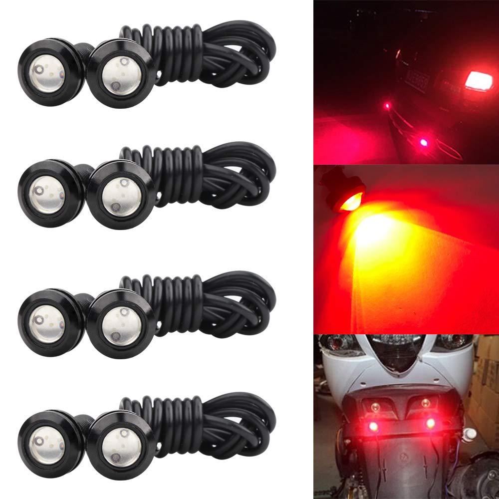 8pcs 18mm Red Eagle Eye LED Light High Power 9W DRL Fog Light Motorcycle Light Daytime Running Tail Backup Light Car Motor Clearance Marker Lights