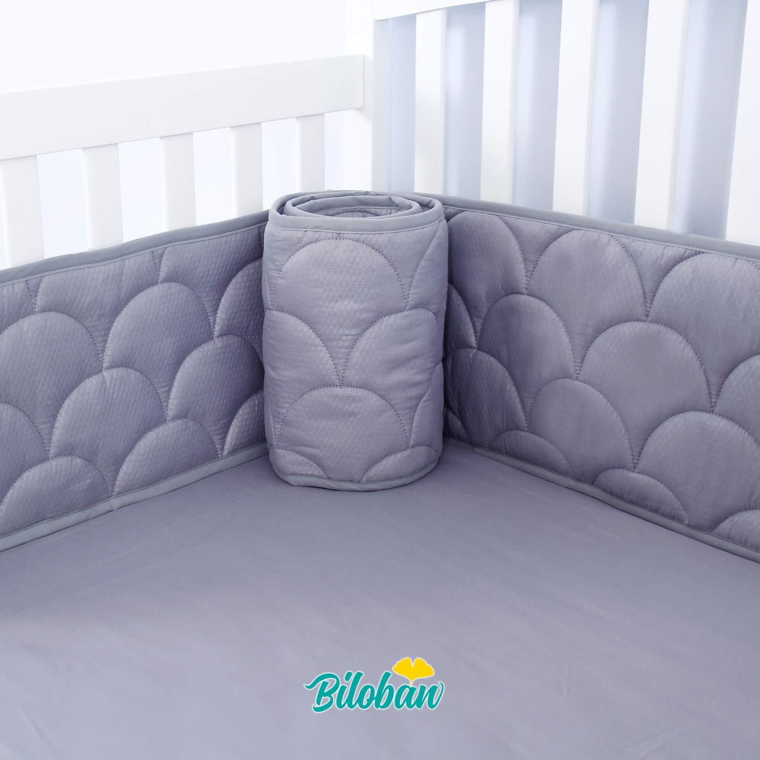 Baby Bumper for Cribs, Safe & Washable Baby Bedding Bumpers Crib Padded Liners for Boys, 4 Piece/Set Fit Standard Crib 52 x 38, Gray by Biloban