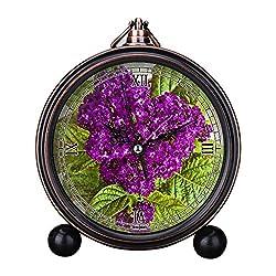 Girlsight Art Retro Living Room Decorative Non-ticking, Easy to Read, Quartz, Analog Large Numerals Bedside Table Desk Alarm Clock-B4621.Vanilla Flower, Heliotrope, Potted Plant, Flower Purple