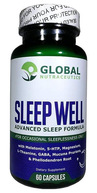 Sleep Well, Advanced Sleep Formula from Global Nutraceutics with Melatonin, GABA, 5-