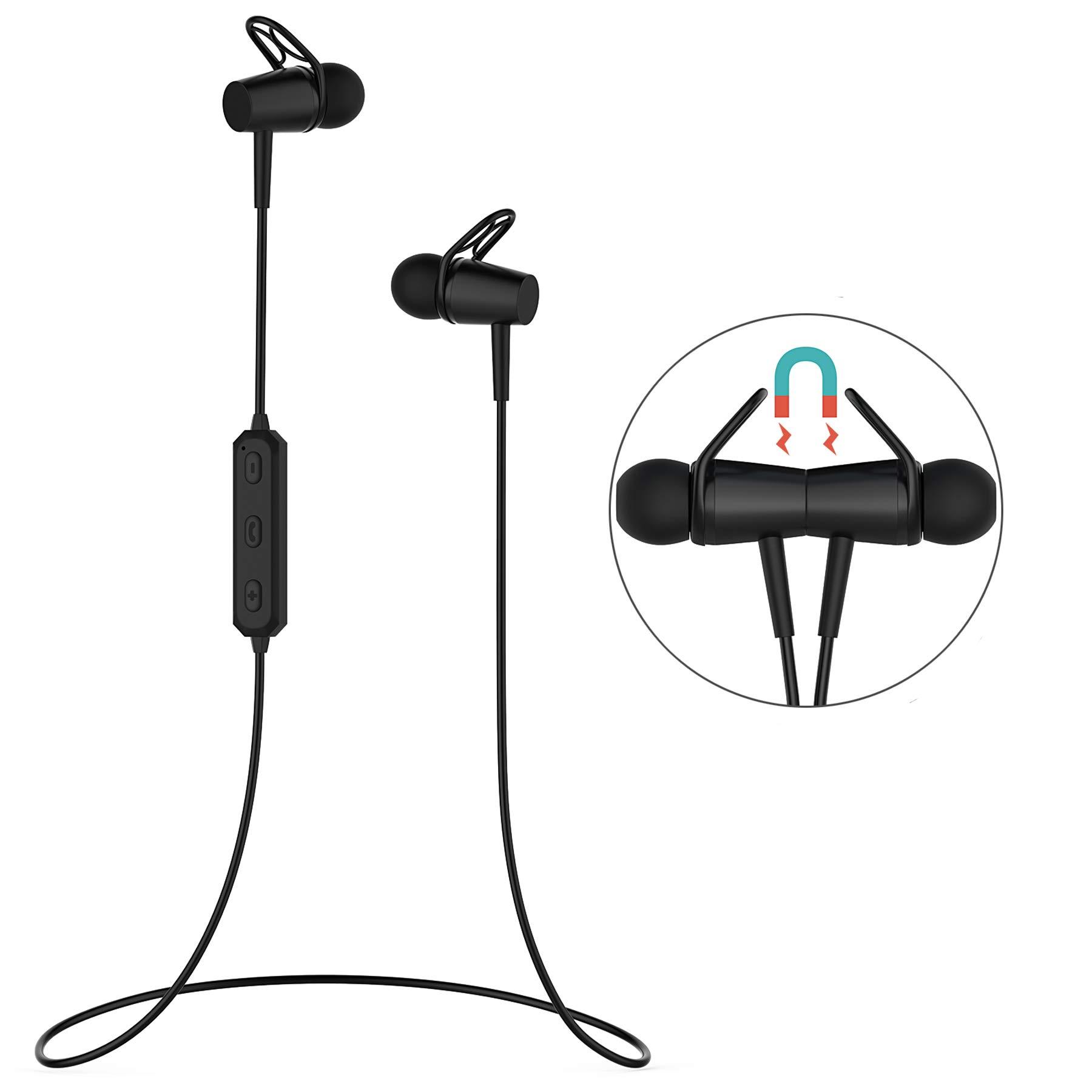 Bluetooth Earphones, Bluetooth 4.2 Magnetic Earphones, in-Ear Sweatproof Headphones with Mic for Running Gym Workout