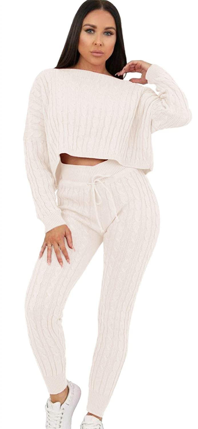 JanisRamone Womens Cable Knitted Cropped Top Bottoms Co-Ord 2 Pcs Suit Loungewear Tracksuit