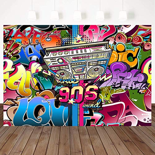 Mehofoto Graffiti 90s Backdrop for Photography Hip Hop Backdrop7x5ft Vinyl Radio Retro Style Photo Booth Backdrops Hip Hop Photo Studio Background Style 90's Party Decoration Props -
