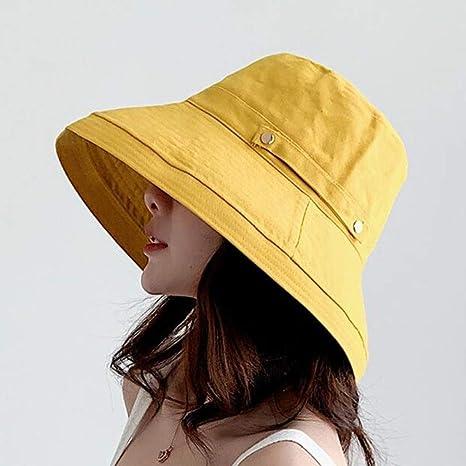 Women/'s Anti-UV Fashion Wide Brim Summer Beach Cotton Sun Bucket Hat