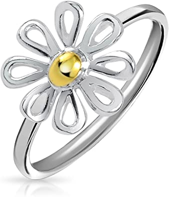 925 Sterling Silver Ring Golden Daisy Size 8