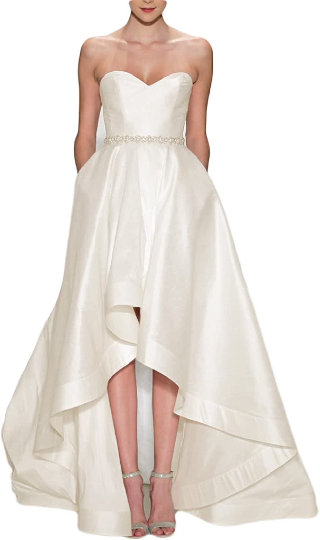 LMBRIDAL Women's Sweetheart Fashion High Low Wedding Dress with Pocket WBD20