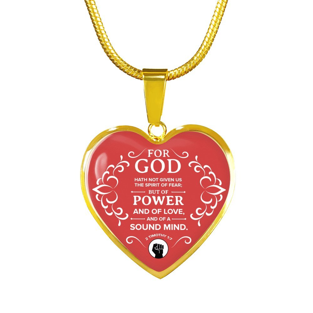 Express Your Love Gifts 2 Timothy 1:7 Heart Pendant Handmade Stainless Steel-Silver Tone or 18k Gold Finish-Pendant Necklace Adjustable 18-22 or Luxury Chain Bracelet Bangle