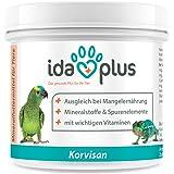 Ida Plus Korvisan Pulver (200 g) Mineralfuttermittel mit Vitamin D3, Calcium & Spurenelementen für Amphibien, Reptilien und Vögel (Ziervögel, Singvögel und Papageien) Versorgung für bis zu 200 Tage