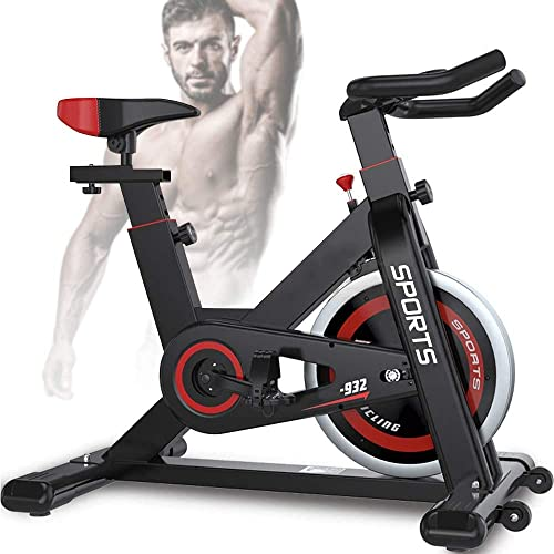 Yoleo Exercise Bikes 2020 New Version , Indoor Cycling Bike, Stationary, Bidirectional Flywheel, Silent Belt Drive, Infinite Resistance, LCD Displays, Handlebar Pulse Sensor Black