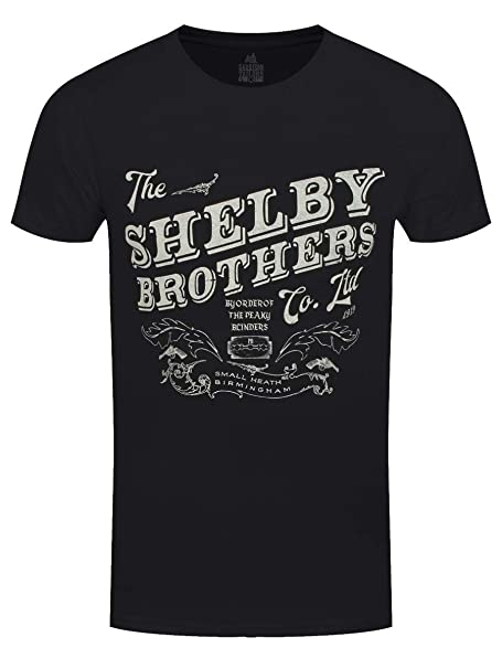 a84d8917 Peaky Blinders T Shirt The Shelby Brothers Official Mens Black Size S