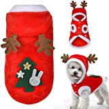 melysUS Dog Cat Christmas Costume Clothes Hat Tree Pattern Clothes Winter Dog Hoodie Cold Weather Coats