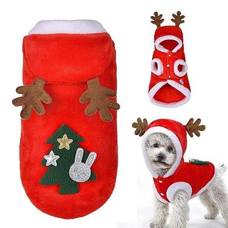 Tomasa Perro Mascota Abrigo Árbol de Navidad Patrón Ropa Invierno Perro Sudadera con Capucha Cachorro Perro