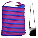 JOE COOL Shoulder Bag All Zipper Large (Purple with Blue Zip) Made with Polyester by