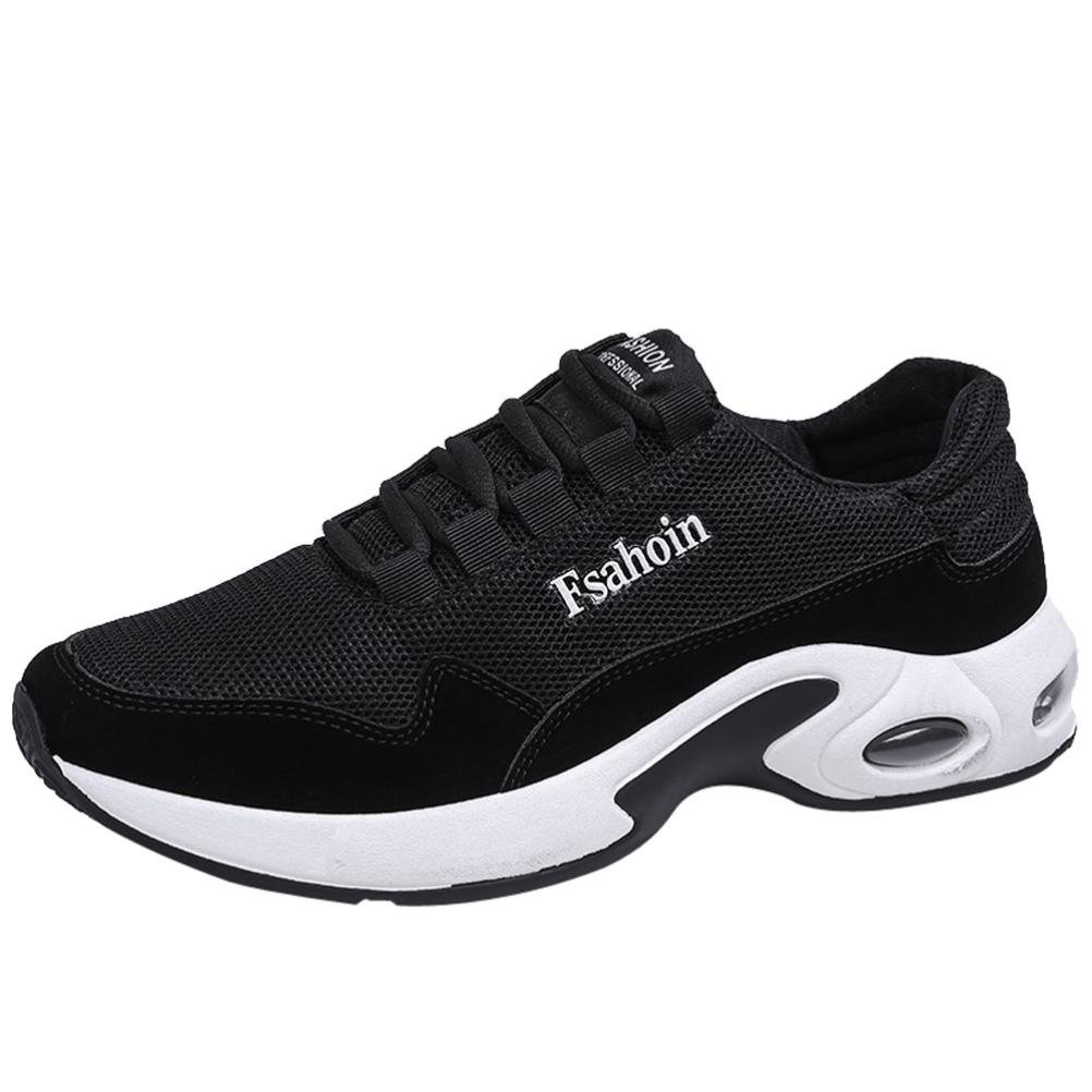 Hot Sale Mens Running Shoes Casual Lace up Ventilation Shock Absorption Athletic Sneakers (Black, US:8.5)