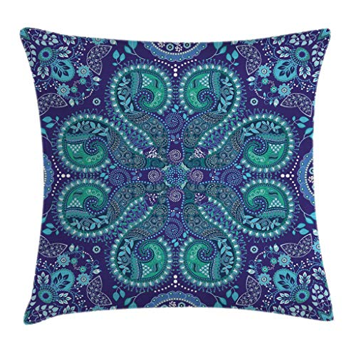 Pillows Paisley Throw Outdoor (Paisley Throw Pillow Cushion Cover by Ambesonne, Indian Inspired Decoration with Ivy Flowers Round Shapes Art, Decorative Square Accent Pillow Case, 18 X18 Inches, Indigo Teal Cadet Blue Slate Blue)