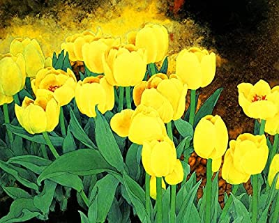 Tulips Oil Painting Reprodution. Based on Famous Traditional Chinese Realistic Painting. (Unframed and Unstretched).