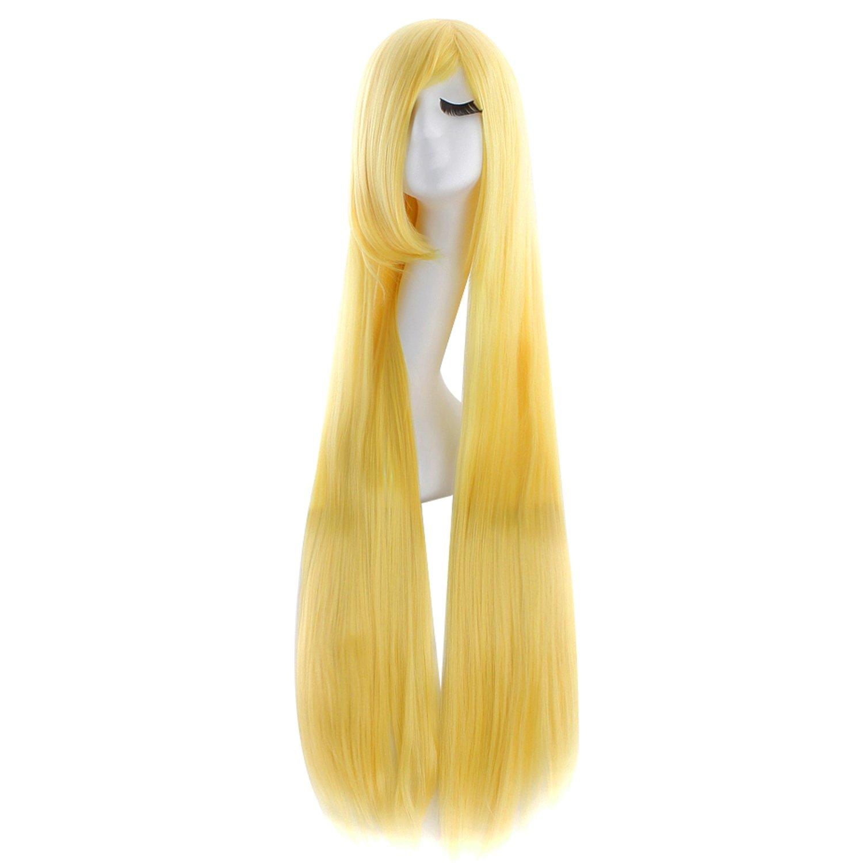 MapofBeauty 100cm/39 Pouce Moyen Droit Femmes Droit Perruques (Blanc)