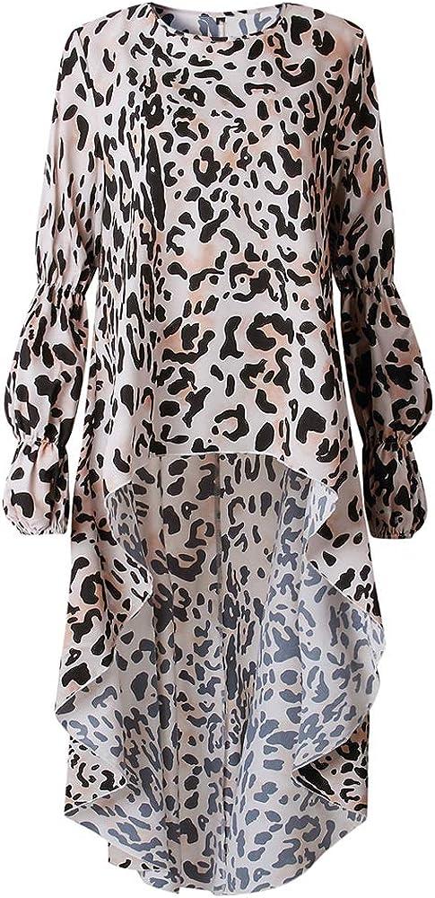 Shujin Damen Herbst Elegant Langarm Kleid mit Leopardmuster Drucken Asymmetrisch Vorne Kurz Hinten Lang R/üschen Saum Tunika Partykleid