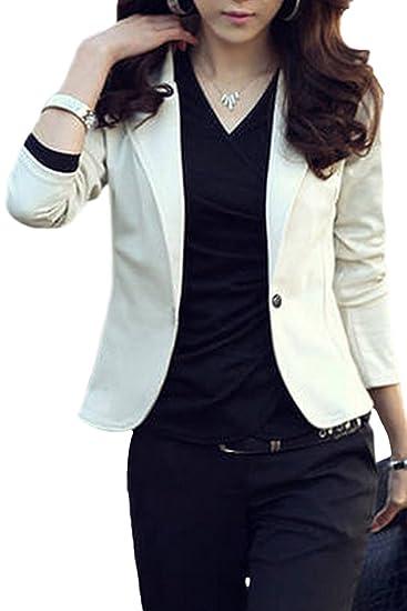 5d069cb9f10 Sevozimda Women Elegant Suit Collar Solid One Button Slim OL Office Blazer  Outcoat Beige S