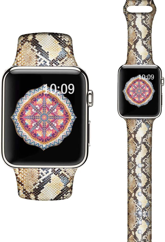 LAACO Silicone Sport Bands Compatible with Apple Watch 44mm for Women, Floral Sport Band, Snake Pattern Fadeless Pattern Printed Replacement Strap Bands Compatible with iWatch 42mm Series 5 4 3 2 1