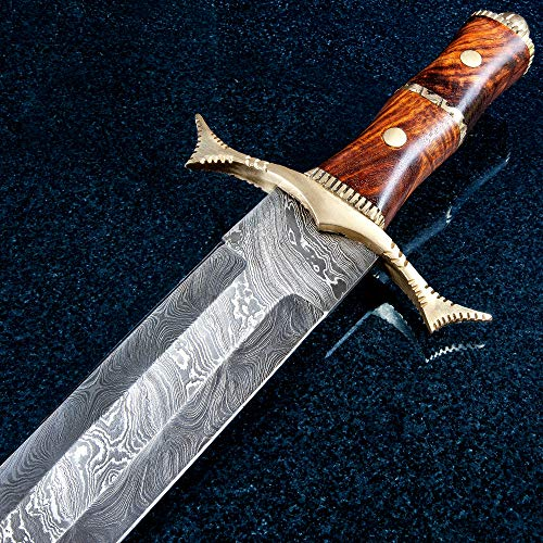 (K EXCLUSIVE Royal Ranger Damascus Sword and Sheath - Damascus Steel Blade, Wooden Handle, Metal Guard and Pommel - Length 28
