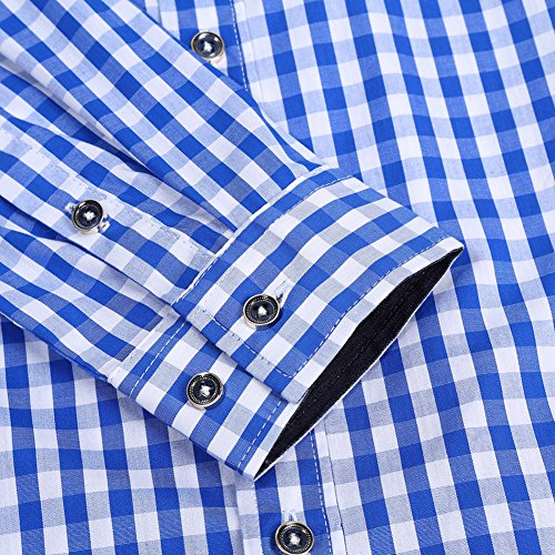GloryStar Men's Casual Classics Oktoberfest costumes Turn-down Collar Long Sleeve Check Shirt Blue and White Checked XXL by GloryStar (Image #5)