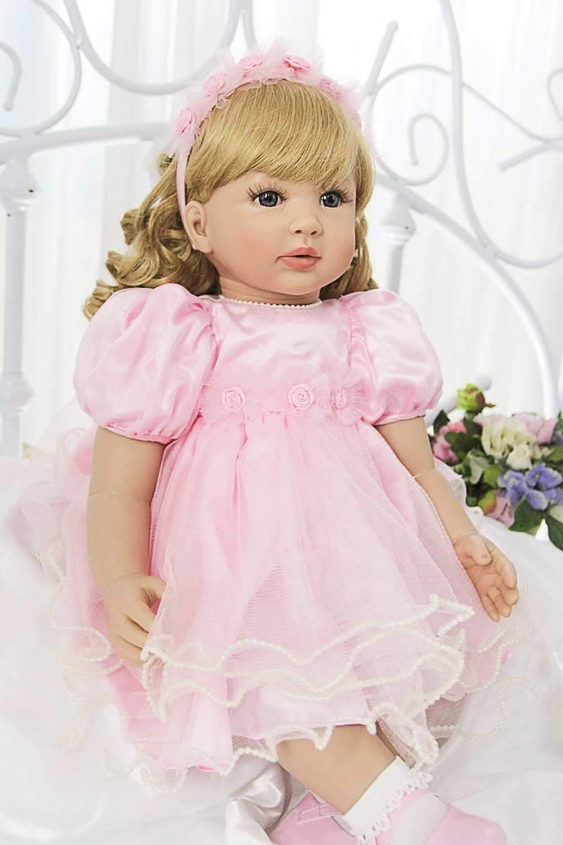 Pursue Baby Real Life幼児用プリンセスガール人形Curly Golden Hairローリー、24インチReal Looking Baby Cuddle人形子供ギフト   B07B9VRJC4