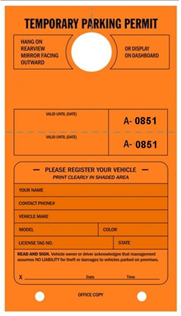 Temporary Parking Permit - Mirror Hang Tags, Numbered with Tear-Off Stub, 7-3/4'' x 4-1/4'', Bright Fluorescent Orange - Pack of 50 Tags (0851-0900)