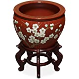 China Furniture Online Porcelain Fishbowl, 12 Inches Hand Painted Cherry Blossom Motif Planter Red Glaze