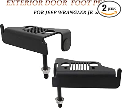KMFCDAE Jeep Foot Pegs JK Exterior Front Door Hinge Foot Rest Kick Pedal Grille Panel for Jeep Wrangler JK 2DR JKU 4DR 2007-2018 1 Pair