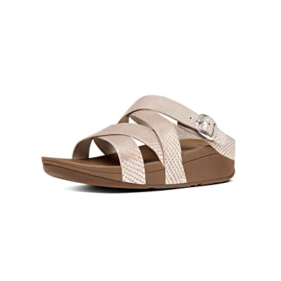 07abab12e23823 FitFlop Womens The Skinny Criss Cross Slide Sandal Shoes