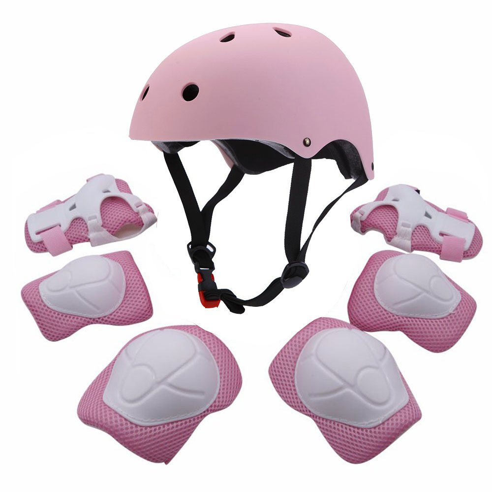 F&U Kids Youth Sports Protective Gear Set with Helmet Elbow Knee Wrist Safety Pad Safeguard for Rollerblading Bicycle BMX Bike Skateboard Outdoor Activities (Pink)