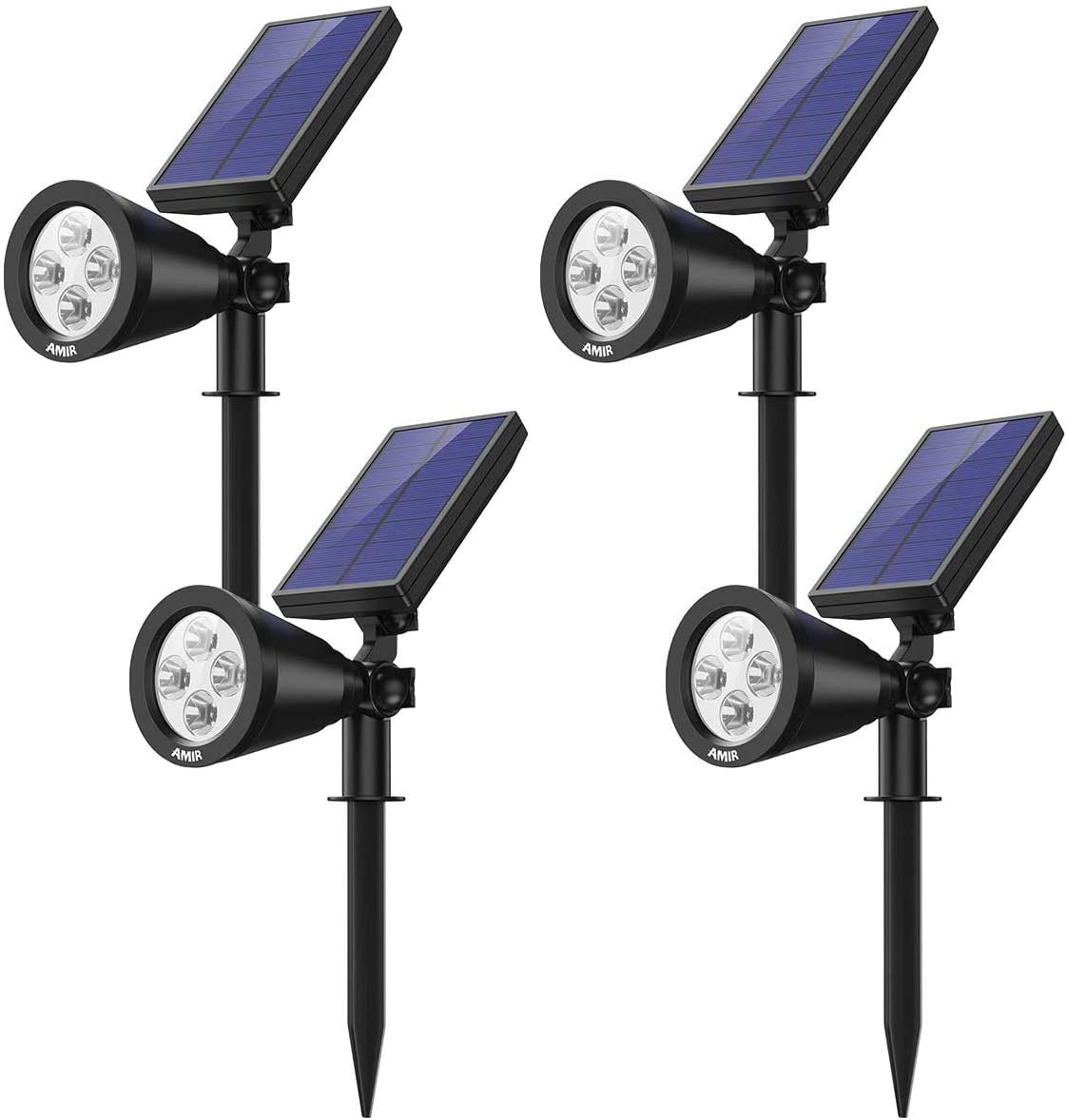 AMIR Solar Spotlights Outdoor Upgraded, Waterproof 4 LED Solar Security Landscape Lights, Adjustable Solar Garden Light with Auto On Off for Yard Driveway Pathway Pool Patio 4 Pack,White