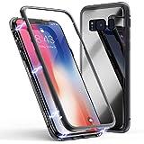 Cover Samsung Galaxy Note 8, Forte Tecnologia di Adsorbimento Magnetico, Jonwelsy Ultra Sottile Custodia Posteriore in Vetro Temperato con Bumper in Metallo [Supporta la ricarica wireless]