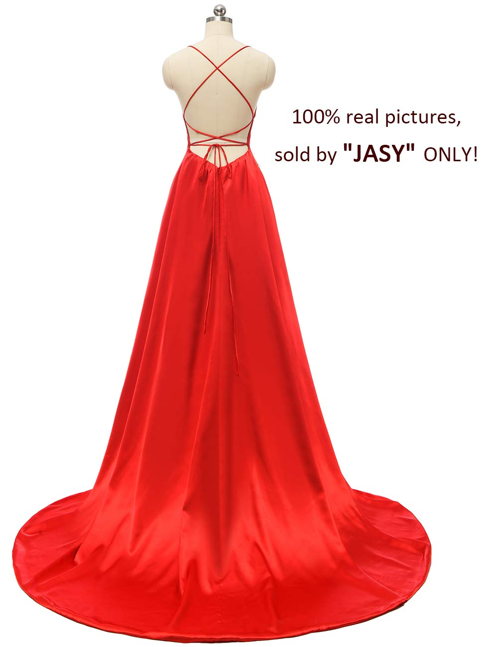 JASY Women's Spaghetti Satin Long Black Side Slit Prom Dresses with Pockets by JASY (Image #2)