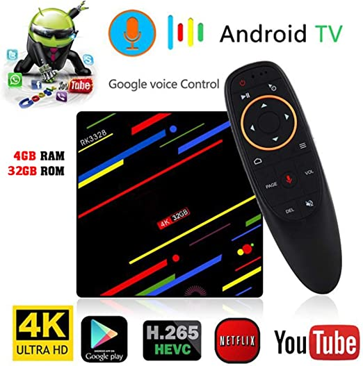 AXDNH Android TV Box, Smart Media Home Box 4 GB de RAM 32 GB ROM Control de Voz WiFi 2.4G y 5G Ethernet USB3.0 decodificador HD 4K Jugador Red: Amazon.es: Hogar