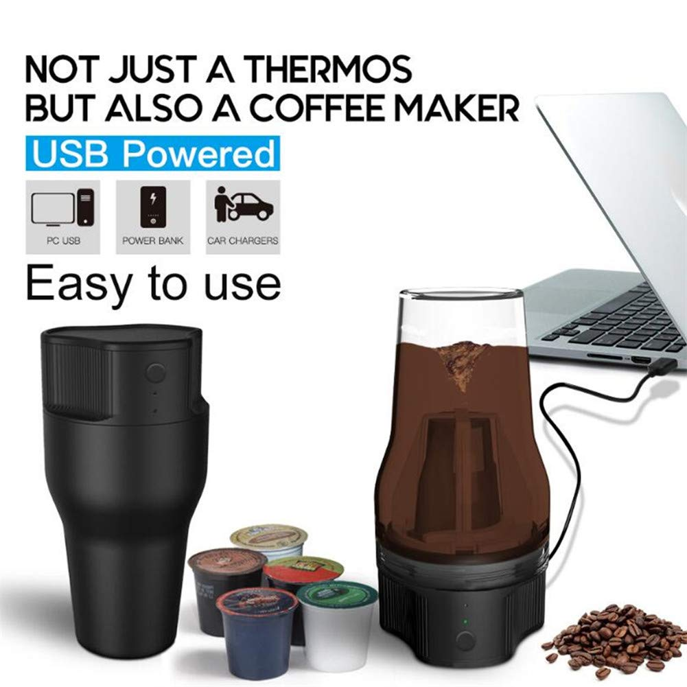 Automatic Portable Expresso Machine,HomeYoo Electric Coffee Machine, One-Button Operation Coffee Maker for Travel and Outdoor-USB charge,500ML, Best Gift for Family and Friends (Black) by HomeYoo (Image #3)